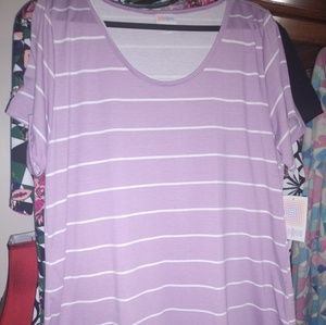 LulaRoe Classic Tee, 2XL, NEW, lavender and white